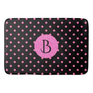 Modern Pink Glitter Polka-Dots Pattern Monogram Bath Mat