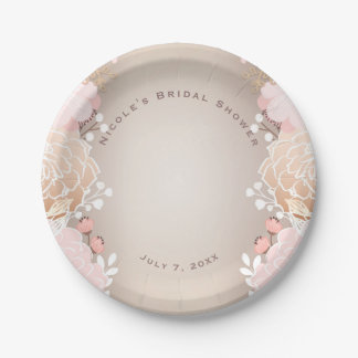 Modern Pink & Gold Floral Bridal Shower Any Event 7 Inch Paper Plate