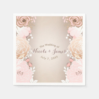 Modern Pink & Gold Floral Bridal Shower Any Event Disposable Napkin