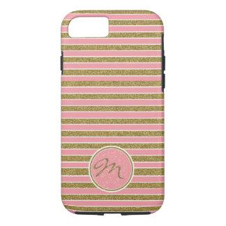 Modern Pink Gold Glitter Monogrammed Case-Mate iPhone Case