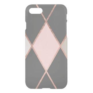 Modern pink gray color block rose gold stripes iPhone 8/7 case