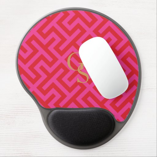 Modern pink greek key geometric patterns monogram gel mousepad