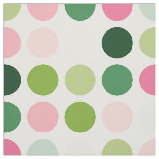 Modern pink green polka dots pattern monogram fabric