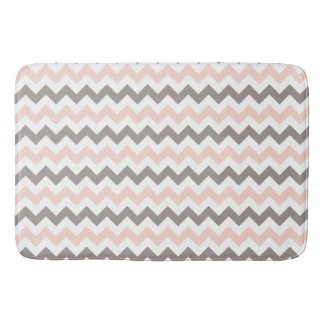 Modern Pink & Grey Chevron Large Bath Mat