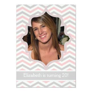 Modern pink, grey chevron zigzag birthday photo card