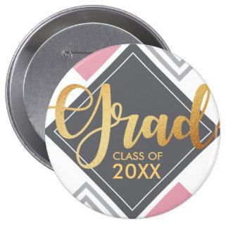 Modern pink grey geometric diamond shape 4 inch round button
