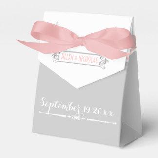 Modern pink, grey, white vintage wedding favor box