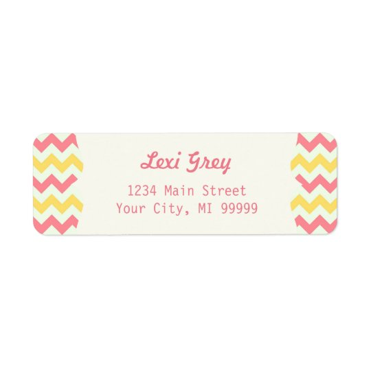 Modern Pink Lemonade Chevron Address