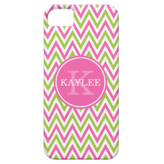 Modern Pink Lime Green Chevron & Monogram iPhone 5 Covers