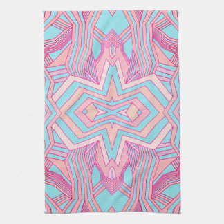 Modern Pink Magenta and Sky Blue Geometric Kitchen Towel