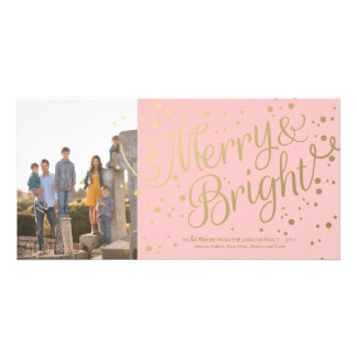 Modern Pink Merry and Bright Confetti Photo Card