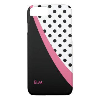 Modern Pink Monogram Polka Dots Case-Mate iPhone Case