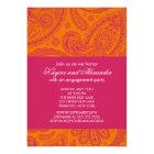 Modern Pink Orange Paisley Engagement Invitations