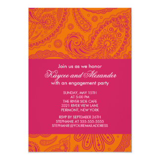 Modern Pink Orange Paisley Engagement Invitations