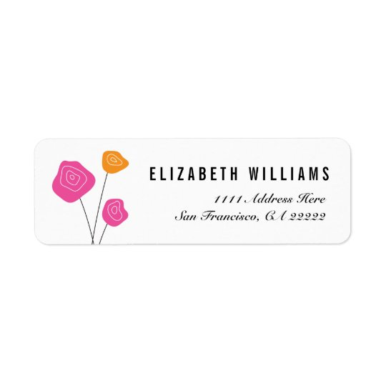 Modern Pink Orange Roses Return Address Labels