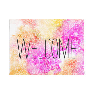 Modern pink orange watercolor hand drawn floral doormat
