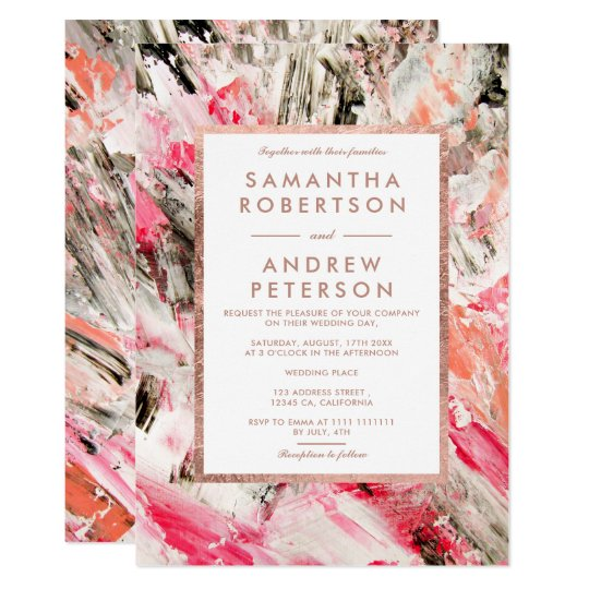 Modern pink peach brushstrokes rose gold wedding card