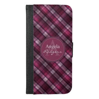 Modern Pink Plaid Girl's Monogram iPhone 6/6s Plus Wallet Case