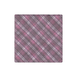 Modern Pink Plaid Girl's Stone Magnets