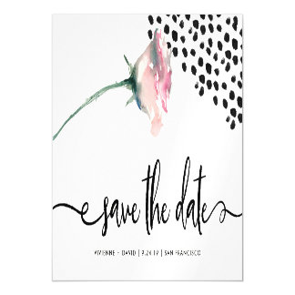 Modern Pink Rose on White | Save the Date Magnetic Card