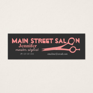 Modern Pink Scissors Hair Stylist  Beauty Salons Mini Business Card