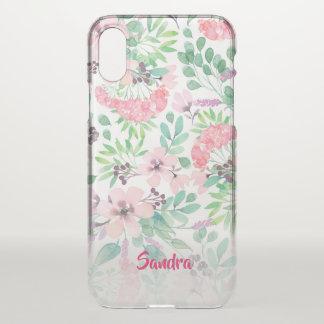 Modern Pink Spring Flowers Pattern iPhone X Case