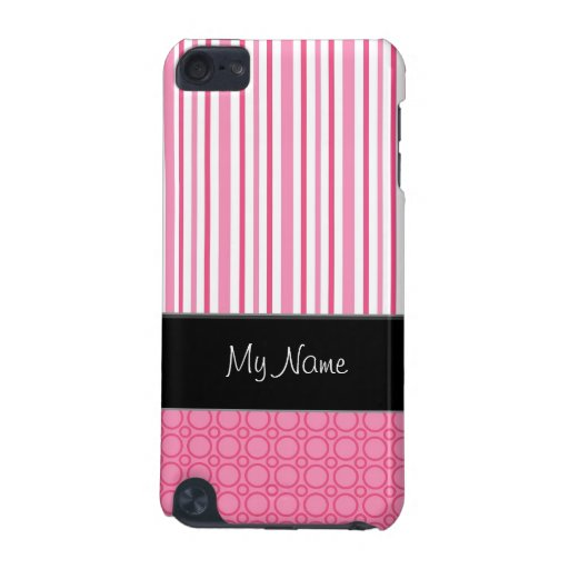 Modern pink striped & circled I-phone case iPod Touch 5G Cover