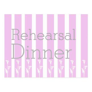 Modern pink stripes rehearsal dinner invite postcard