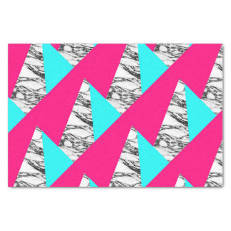 Modern Pink Teal Black White Marble Geometric Tissue Paper