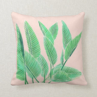 Modern pink tropical green watercolor leaf throw pillow