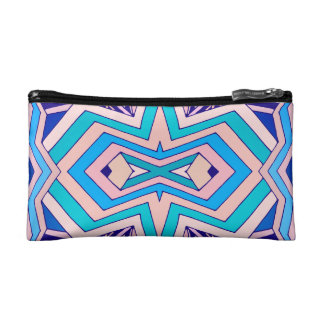 Modern Pink Turquoise and Purple Geometric Pattern Cosmetic Bags