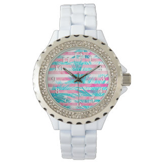 Modern pink turquoise palm tree watercolor stripes wristwatches