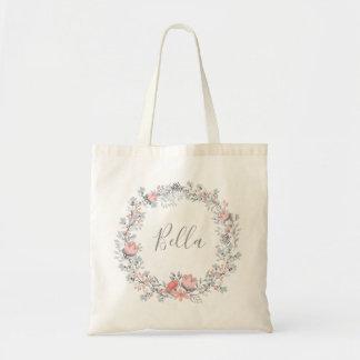 Modern Pink Vintage Rustic Floral Script Tote Bag