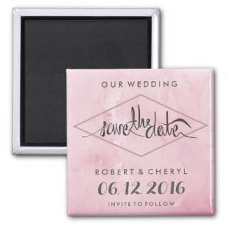 Modern Pink Watercolor Save the Date Magnets