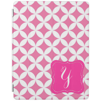 Modern Pink & White Monogrammed iPad Cover