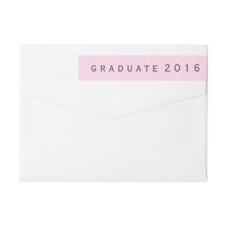 Modern Pink White Polka Dots Graduate 2016 Wrap Around Label