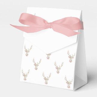 Modern Pink White Vintage  Floral Deer Head Favor Box