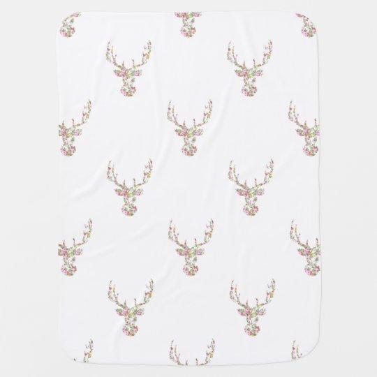 Modern Pink White Vintage  Floral Deer Head Swaddle Blankets