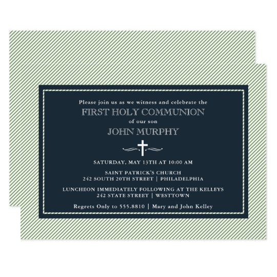 Modern Pinstripes First Communion, Blue and Green Card