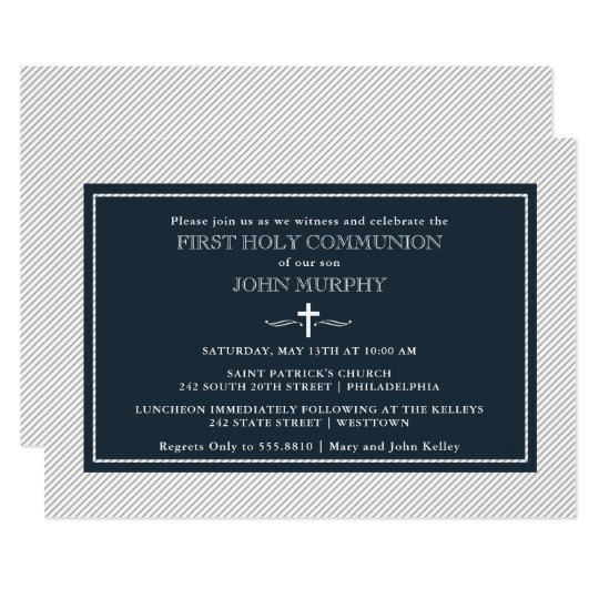 Modern Pinstripes First Communion, Blue and Grey Invitation