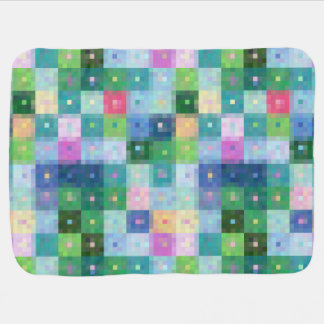 Modern pixel block colorful quilt patches baby blanket