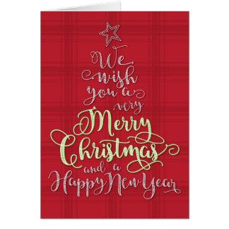 Modern Plaid and Calligraphy Christmas Card