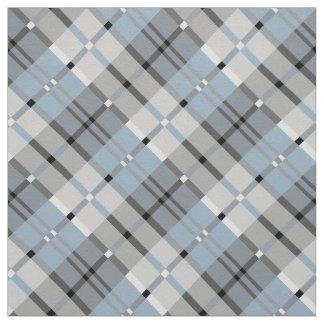 Modern Plaid Pattern Light Blue and Grey Fabric