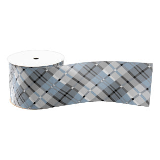 Modern Plaid Pattern Light Blue and Grey Grosgrain Ribbon