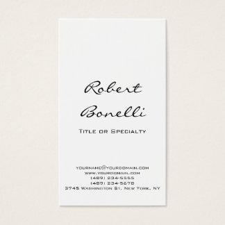 Modern Plain Black White Calligraphy Business Card