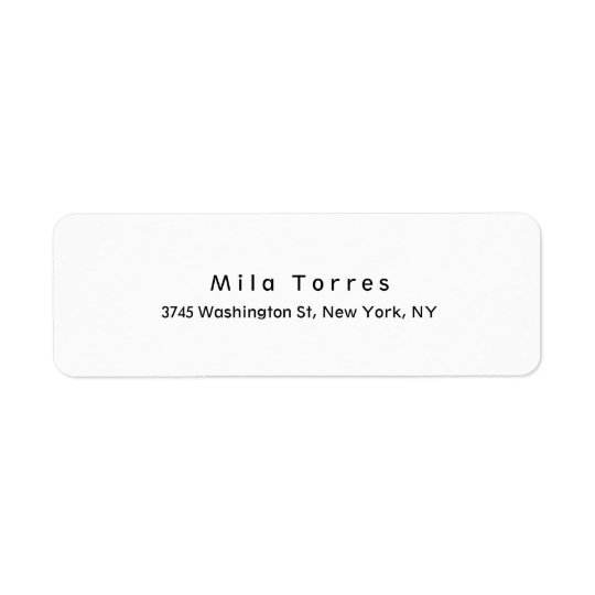 Modern Plain Elegant Unique Black & White Return Address Label