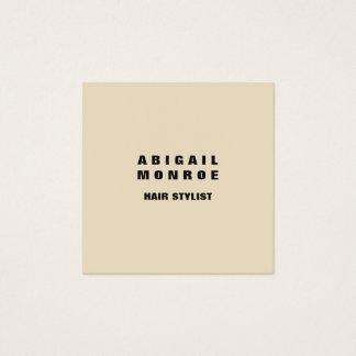 Modern Plain Minimalist Professional Beige Square Business Card