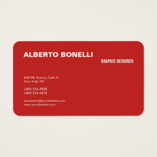 Modern Plain Minimalist Red White Professional Business Card
