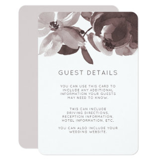 Modern Plum Floral Wedding Guest Details Card