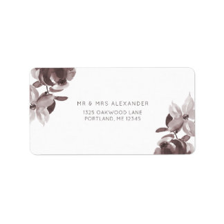 Modern Plum Floral Wedding Return Label